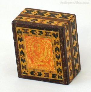 Tunbridge Ware Stamp Box (with Stamps)